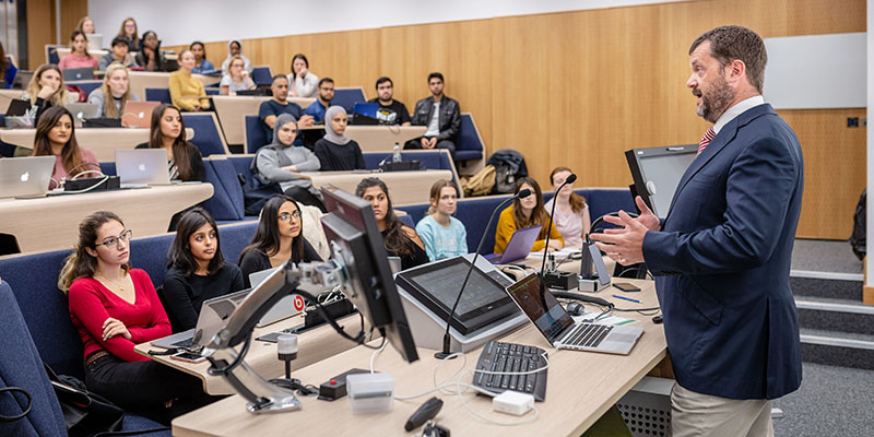 Lecturer teaching a class at the School of Healthcare