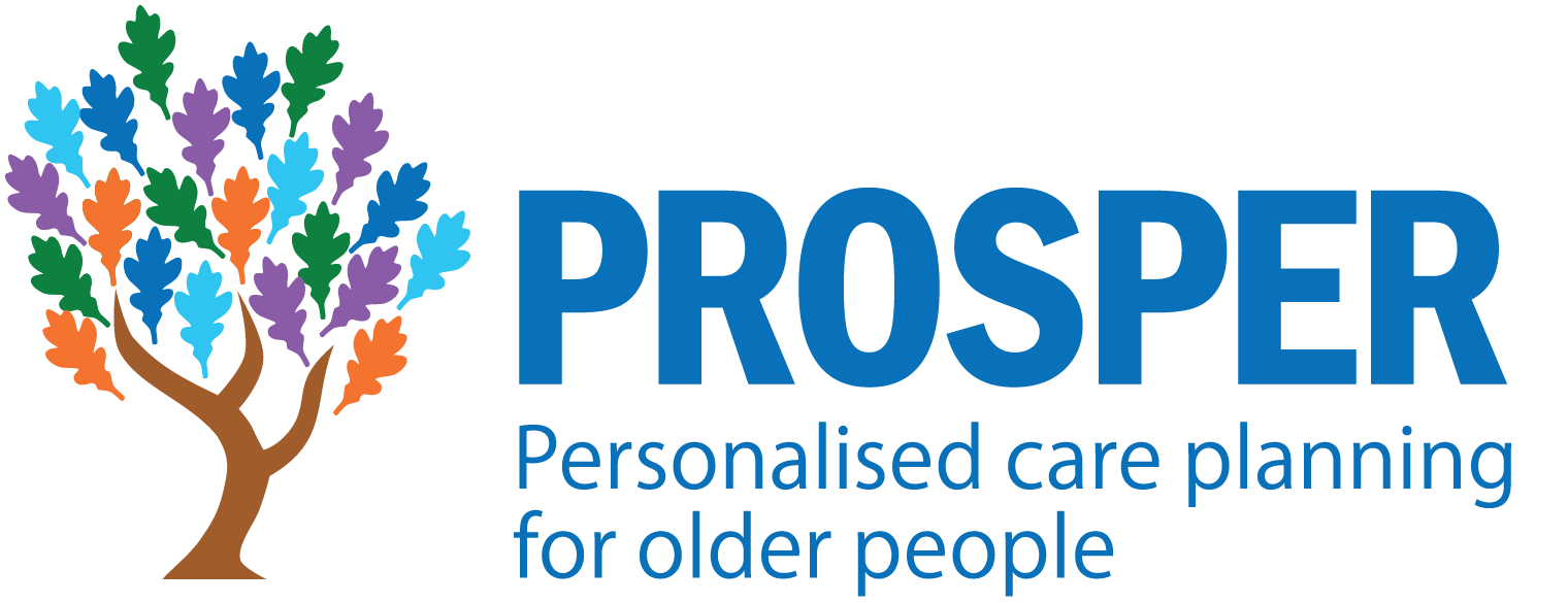 Prosper logo blue text with tagline