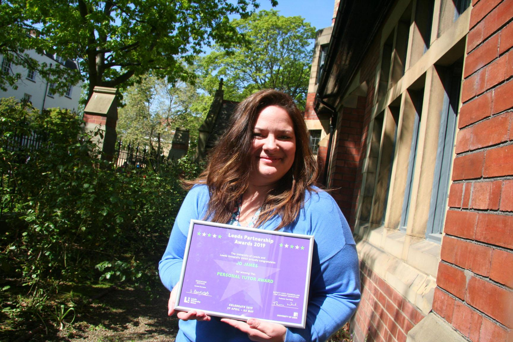 Jo James wins 'Personal Tutor' of the year at  Leeds University 2019 Partnership Awards