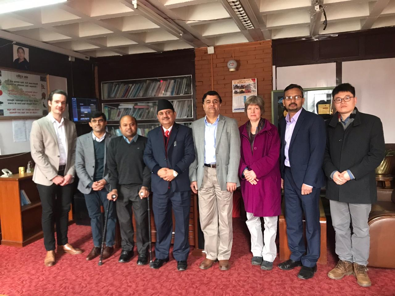UK and Nepal research teams with the Nepal Health Secretary Mr Khagaraj Baral