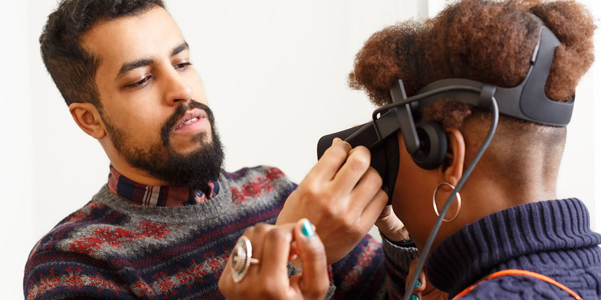University of Leeds Psychology students using virtual reality/VR technology for research