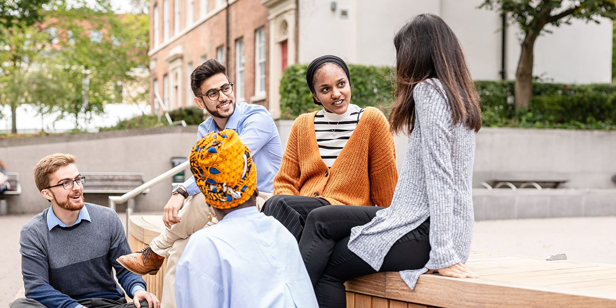 Group of undergraduate University of Leeds Medicine and Health students on campus