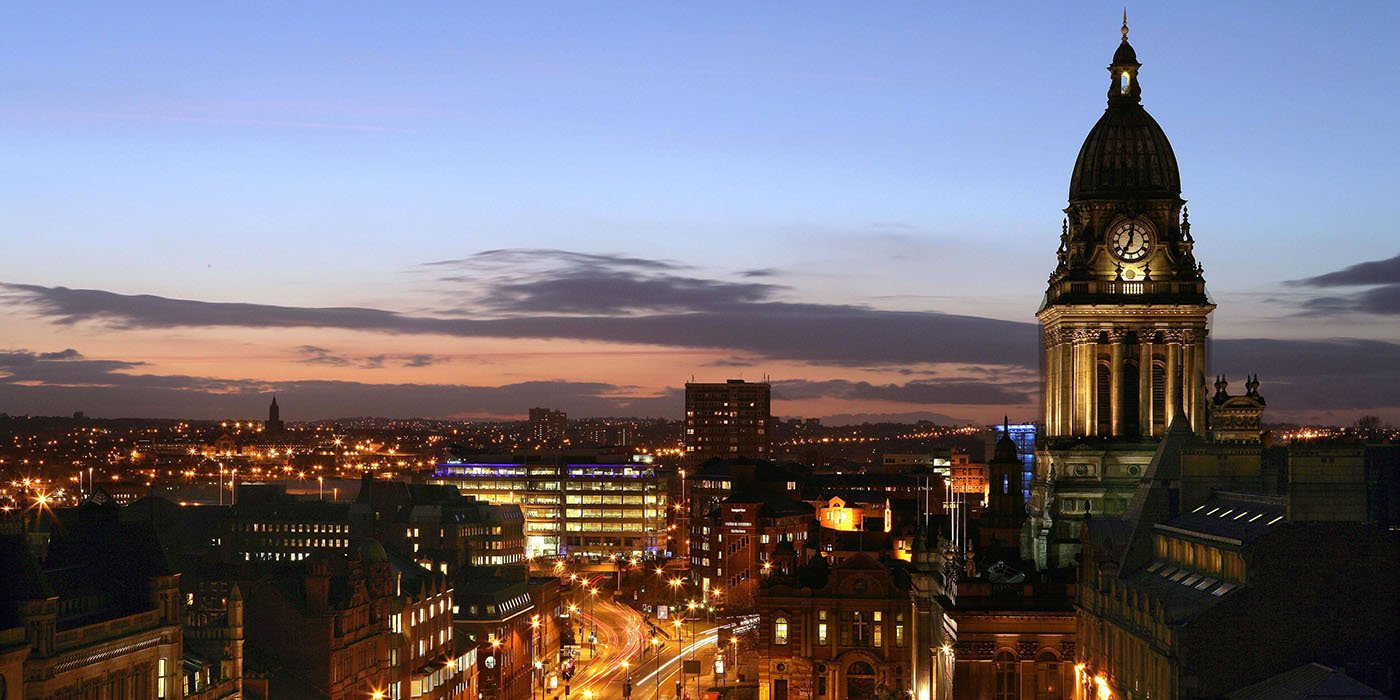 Leeds city landscape at night