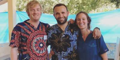 Clinical Academic Fellow, Adam Jones with colleagues in Tanzania
