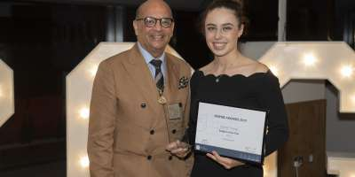 Emma Toner, fifth year MBChB student accepting her award