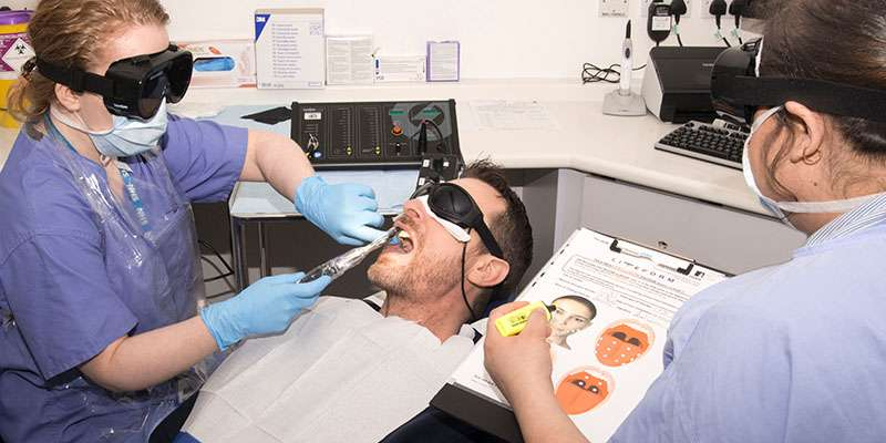 Dentcru image of patient receiving dental treatment at the University of Leeds